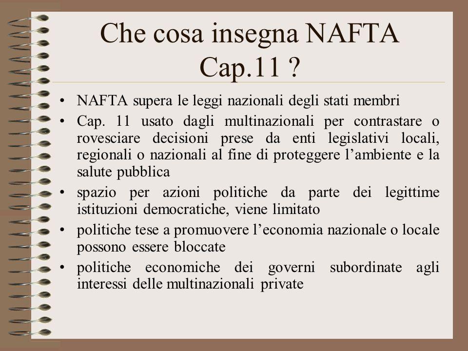 Che cosa insegna NAFTA Cap.11 . NAFTA supera le leggi nazionali degli stati membri Cap.