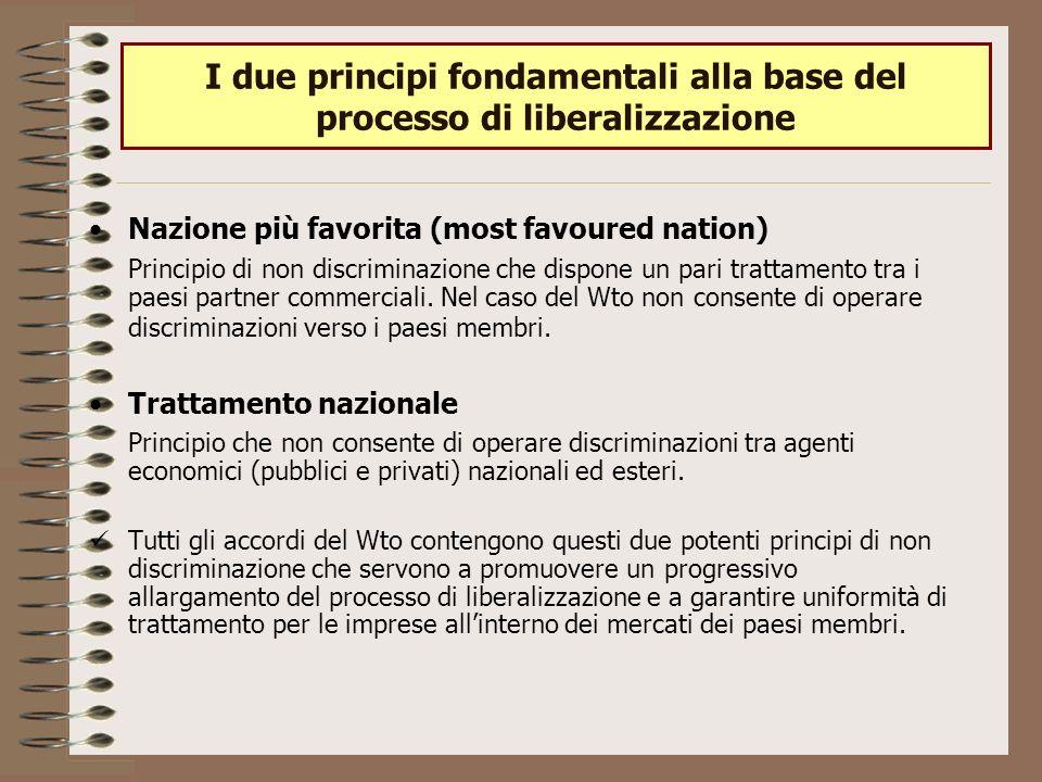 I due principi fondamentali alla base del processo di liberalizzazione Nazione più favorita (most favoured nation) Principio di non discriminazione che dispone un pari trattamento tra i paesi partner commerciali.