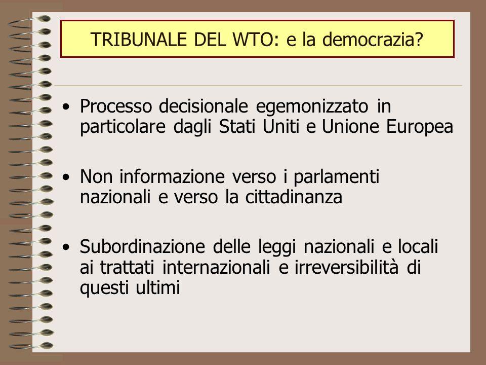 Processo decisionale egemonizzato in particolare dagli Stati Uniti e Unione Europea Non informazione verso i parlamenti nazionali e verso la cittadinanza Subordinazione delle leggi nazionali e locali ai trattati internazionali e irreversibilità di questi ultimi TRIBUNALE DEL WTO: e la democrazia?