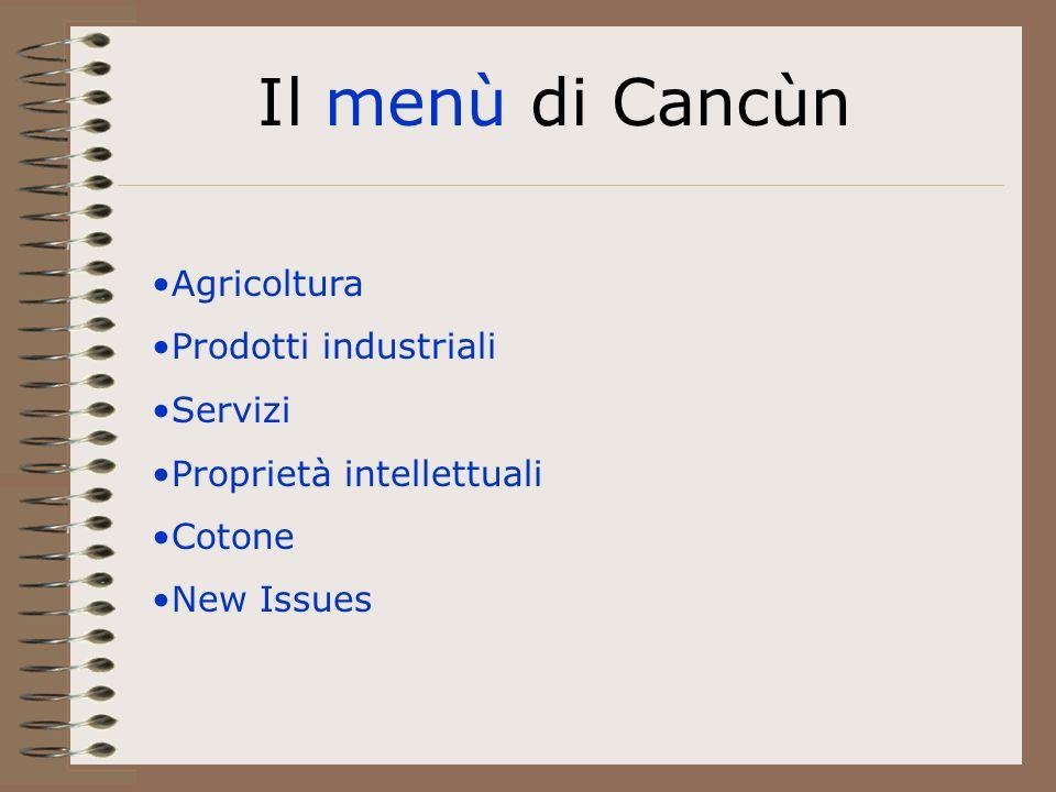 Il menù di Cancùn Agricoltura Prodotti industriali Servizi Proprietà intellettuali Cotone New Issues