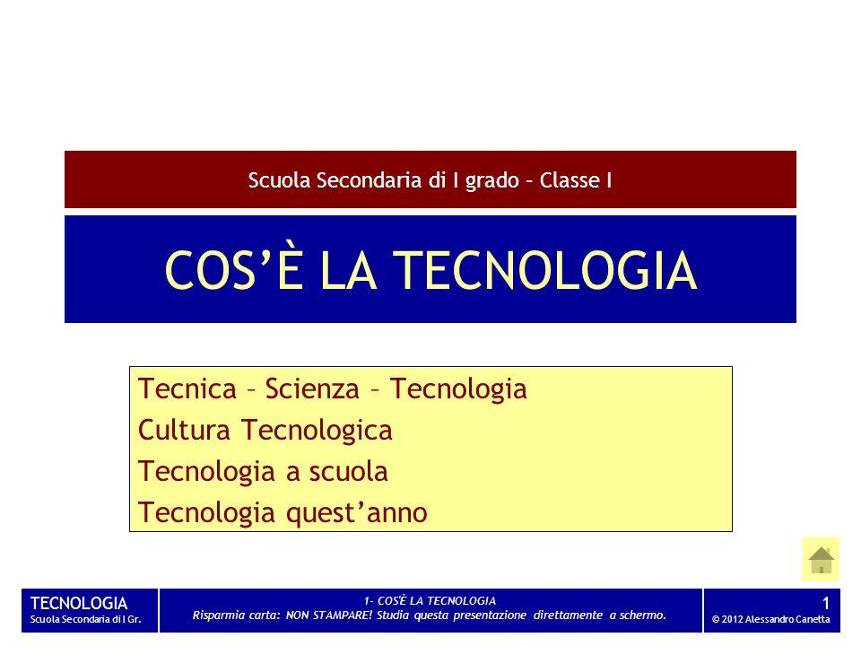 TECNOLOGIA Scuola Secondaria di I Gr. 1- COS'È LA TECNOLOGIA Risparmia carta: NON STAMPARE! Studia questa presentazione direttamente a schermo. 1 © 20