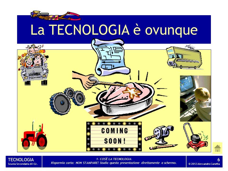 TECNOLOGIA Scuola Secondaria di I Gr. 1- COS'È LA TECNOLOGIA Risparmia carta: NON STAMPARE! Studia questa presentazione direttamente a schermo. 6 © 20