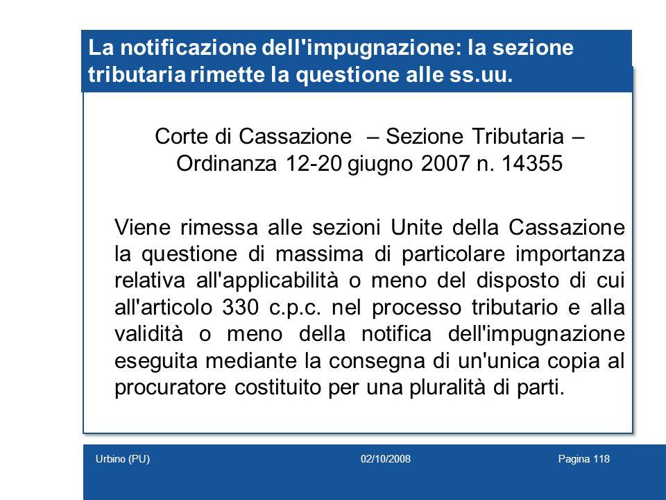 La notificazione dell'impugnazione: la sezione tributaria rimette la questione alle ss.uu. Corte di Cassazione – Sezione Tributaria – Ordinanza 12-20