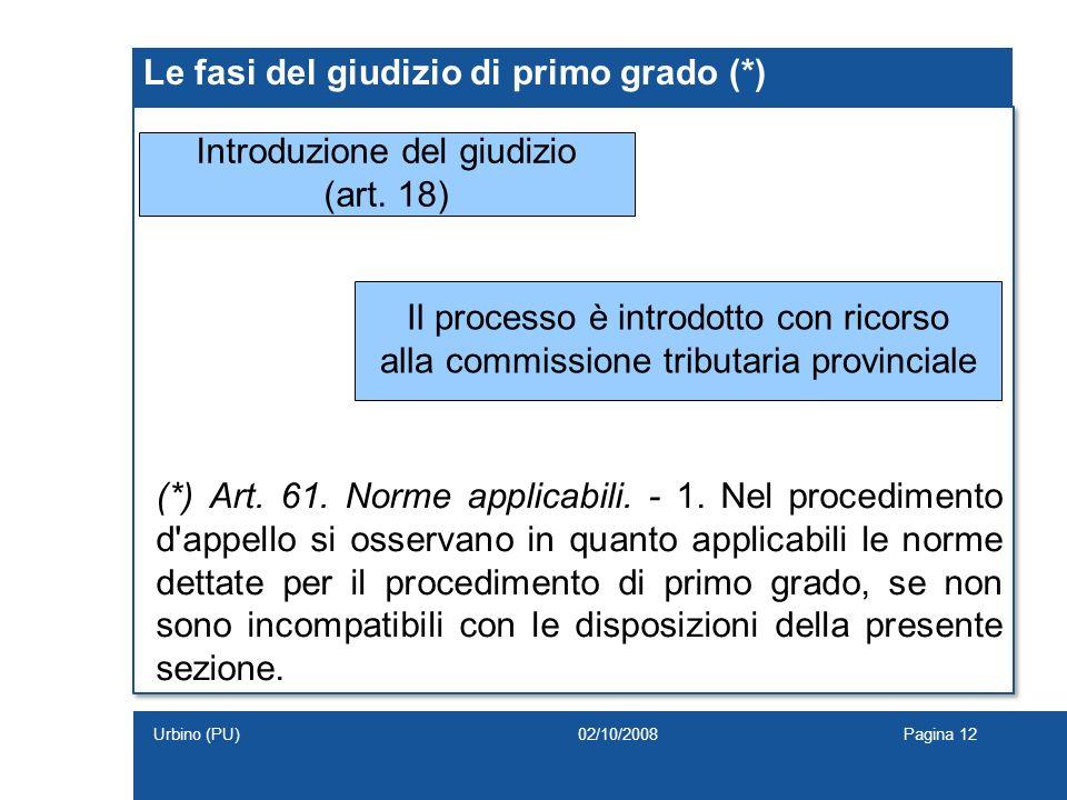 Le fasi del giudizio di primo grado (*) Introduzione del giudizio (art. 18) Il processo è introdotto con ricorso alla commissione tributaria provincia