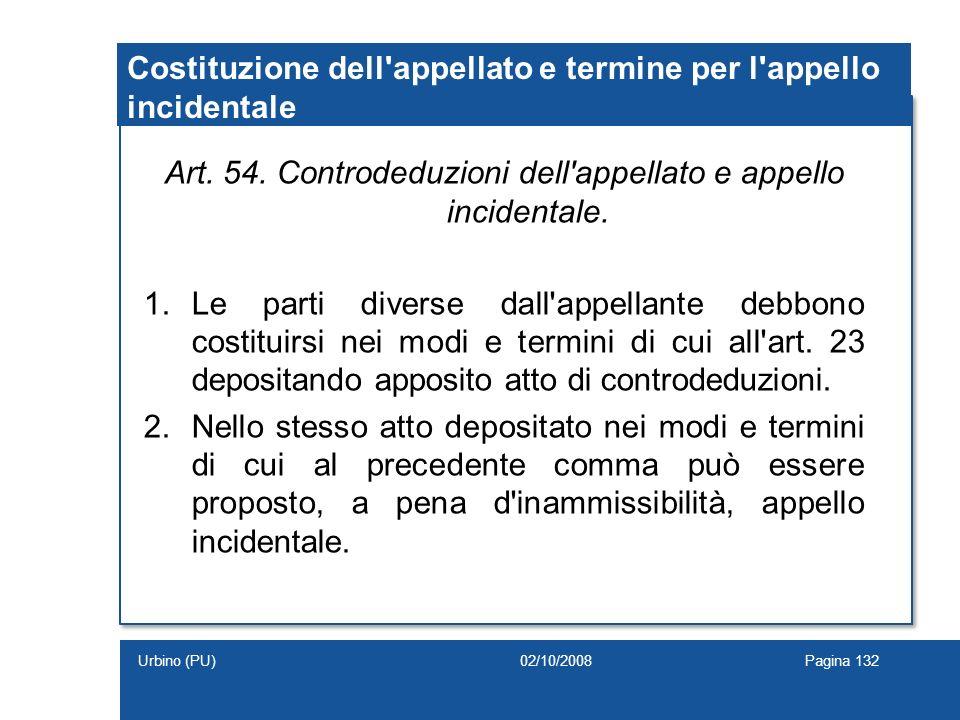Costituzione dell'appellato e termine per l'appello incidentale Art. 54. Controdeduzioni dell'appellato e appello incidentale. 1.Le parti diverse dall