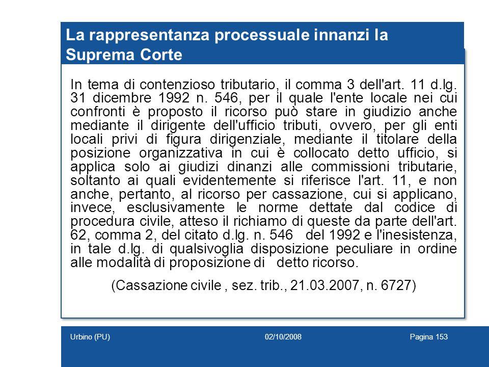 La rappresentanza processuale innanzi la Suprema Corte In tema di contenzioso tributario, il comma 3 dell'art. 11 d.lg. 31 dicembre 1992 n. 546, per i