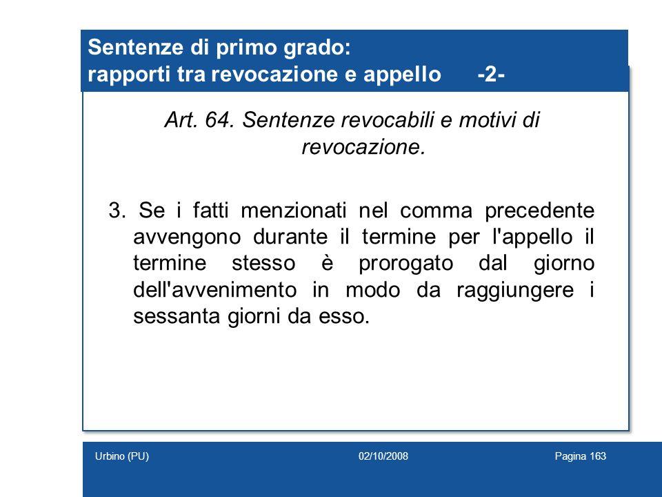 Art. 64. Sentenze revocabili e motivi di revocazione. 3. Se i fatti menzionati nel comma precedente avvengono durante il termine per l'appello il term
