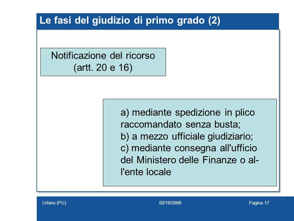 Le fasi del giudizio di primo grado (2) Notificazione del ricorso (artt. 20 e 16) a) mediante spedizione in plico raccomandato senza busta; b) a mezzo