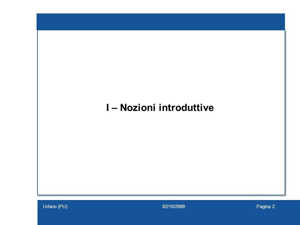 I – Nozioni introduttive 02/10/2008Pagina 2Urbino (PU)