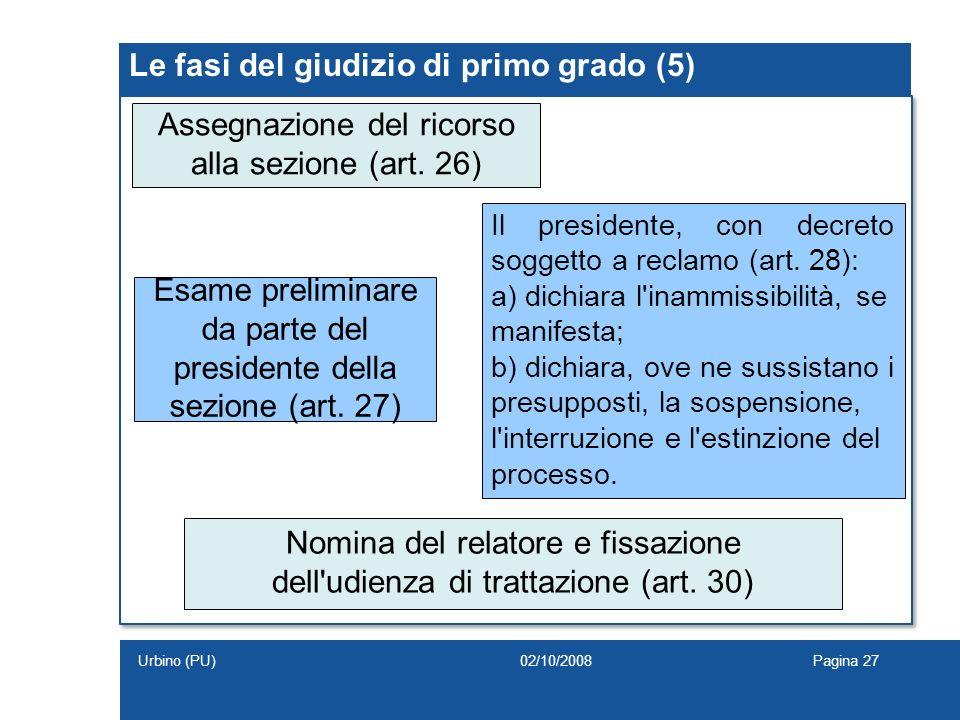 Le fasi del giudizio di primo grado (5) Assegnazione del ricorso alla sezione (art. 26) Esame preliminare da parte del presidente della sezione (art.