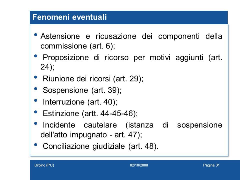 Fenomeni eventuali Astensione e ricusazione dei componenti della commissione (art. 6); Proposizione di ricorso per motivi aggiunti (art. 24); Riunione