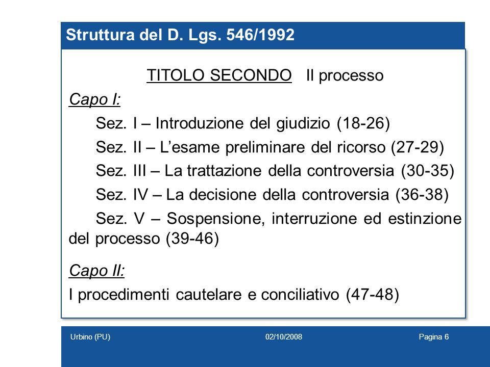 Struttura del D. Lgs. 546/1992 TITOLO SECONDO Il processo Capo I: Sez. I – Introduzione del giudizio (18-26) Sez. II – Lesame preliminare del ricorso