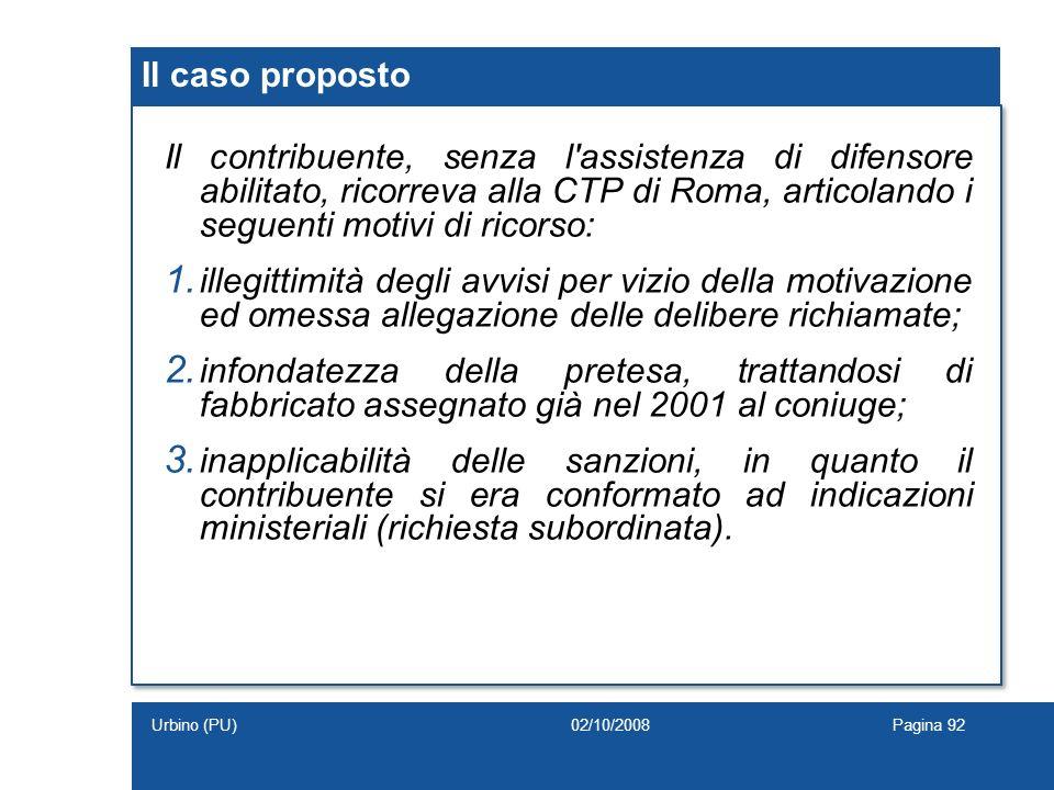 Il contribuente, senza l'assistenza di difensore abilitato, ricorreva alla CTP di Roma, articolando i seguenti motivi di ricorso: 1. illegittimità deg