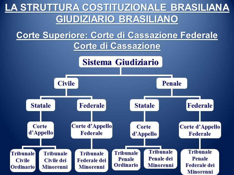 LA STRUTTURA COSTITUZIONALE BRASILIANA GIUDIZIARIO BRASILIANO Corte Superiore: Corte di Cassazione Federale Corte di Cassazione Sistema Giudiziario Ci
