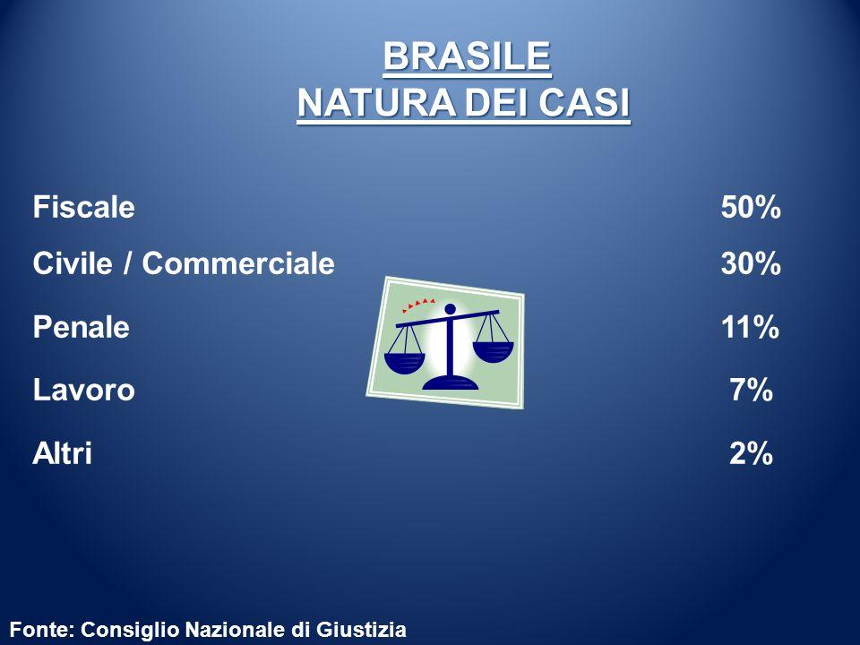 Fonte: Consiglio Nazionale di Giustizia BRASILE NATURA DEI CASI BRASILE NATURA DEI CASI Fiscale 50% Civile / Commerciale 30% Penale 11% Lavoro 7% Altr
