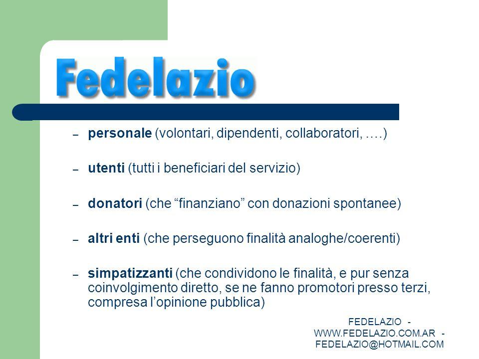 FEDELAZIO - WWW.FEDELAZIO.COM.AR - FEDELAZIO@HOTMAIL.COM – personale (volontari, dipendenti, collaboratori, ….) – utenti (tutti i beneficiari del serv