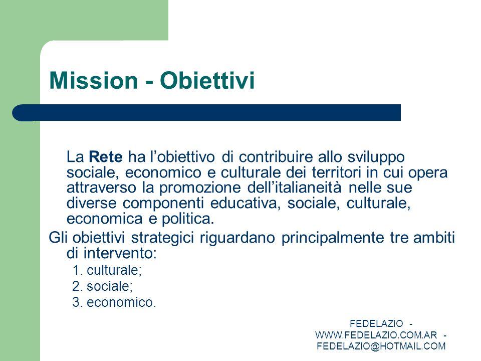 FEDELAZIO - WWW.FEDELAZIO.COM.AR - FEDELAZIO@HOTMAIL.COM Mission - Obiettivi La Rete ha lobiettivo di contribuire allo sviluppo sociale, economico e c