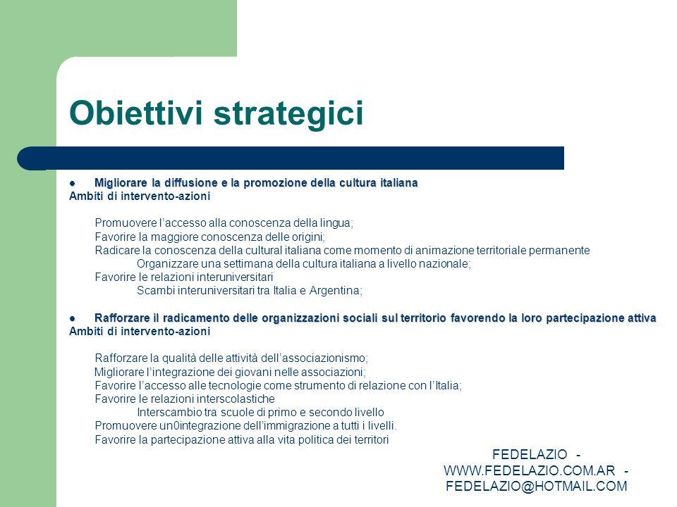 FEDELAZIO - WWW.FEDELAZIO.COM.AR - FEDELAZIO@HOTMAIL.COM Obiettivi strategici Migliorare la diffusione e la promozione della cultura italiana Migliora