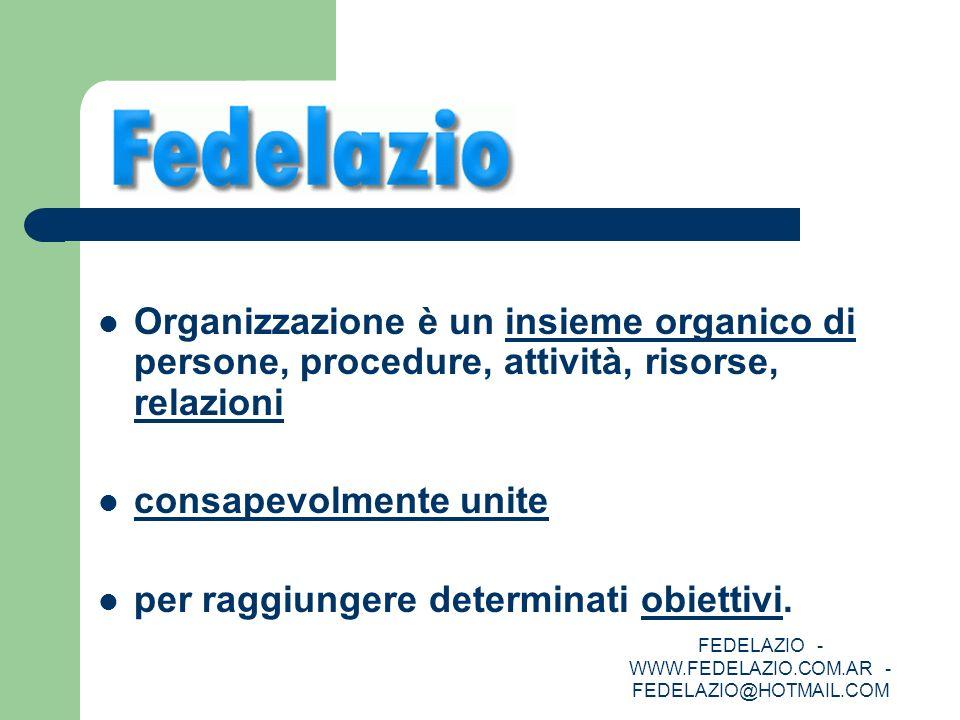 FEDELAZIO - WWW.FEDELAZIO.COM.AR - FEDELAZIO@HOTMAIL.COM Organizzazione è un insieme organico di persone, procedure, attività, risorse, relazioni cons