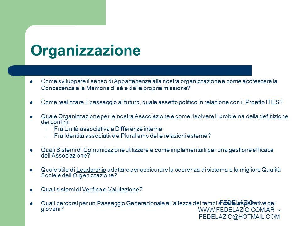 FEDELAZIO - WWW.FEDELAZIO.COM.AR - FEDELAZIO@HOTMAIL.COM Organizzazione Come sviluppare il senso di Appartenenza alla nostra organizzazione e come acc