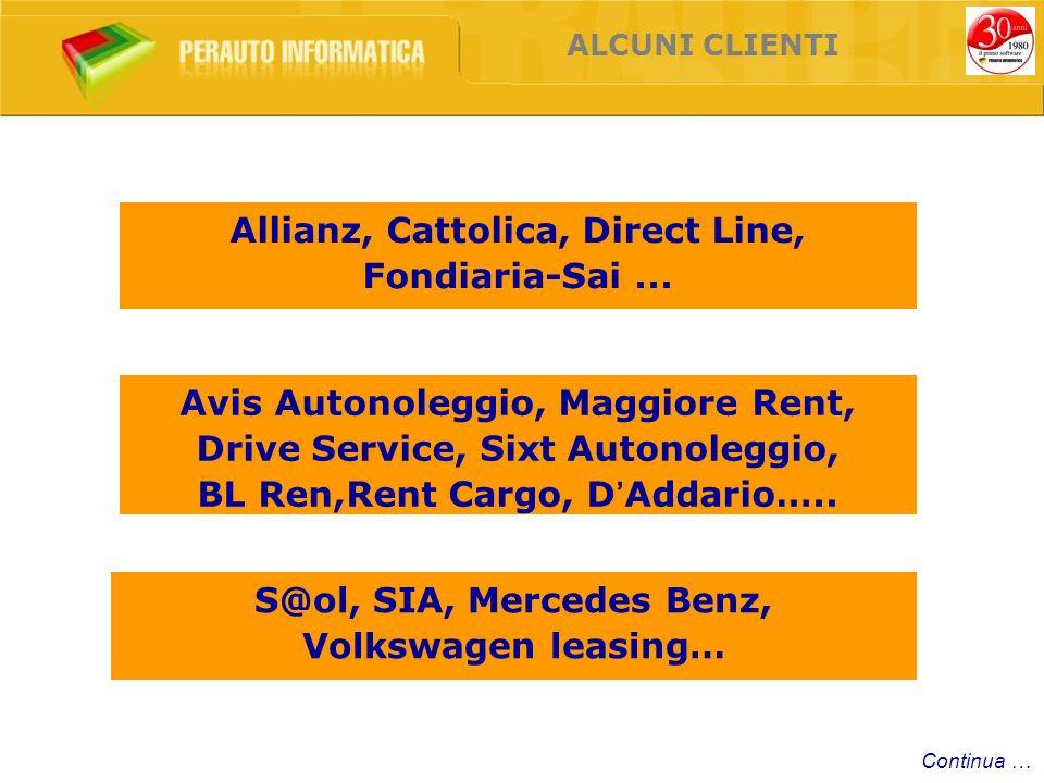 ALCUNI CLIENTI Allianz, Cattolica, Direct Line, Fondiaria-Sai... Avis Autonoleggio, Maggiore Rent, Drive Service, Sixt Autonoleggio, BL Ren,Rent Cargo