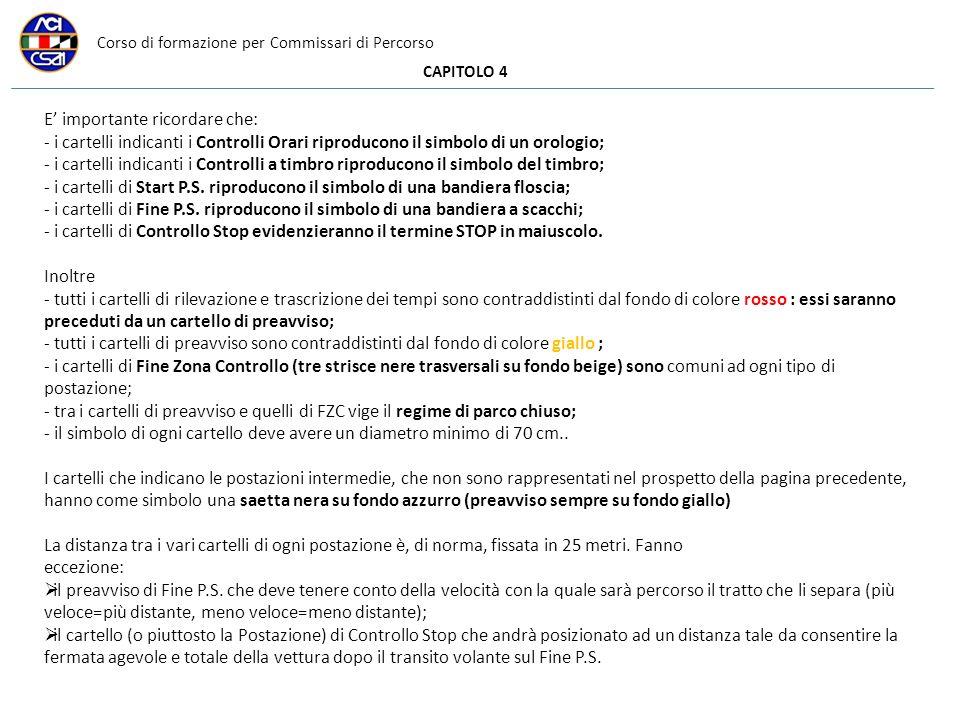 Corso di formazione per Commissari di Percorso CAPITOLO 4 E importante ricordare che: - i cartelli indicanti i Controlli Orari riproducono il simbolo