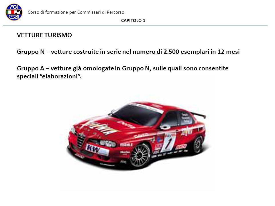 Corso di formazione per Commissari di Percorso CAPITOLO 1 VETTURE TURISMO Gruppo N – vetture costruite in serie nel numero di 2.500 esemplari in 12 me