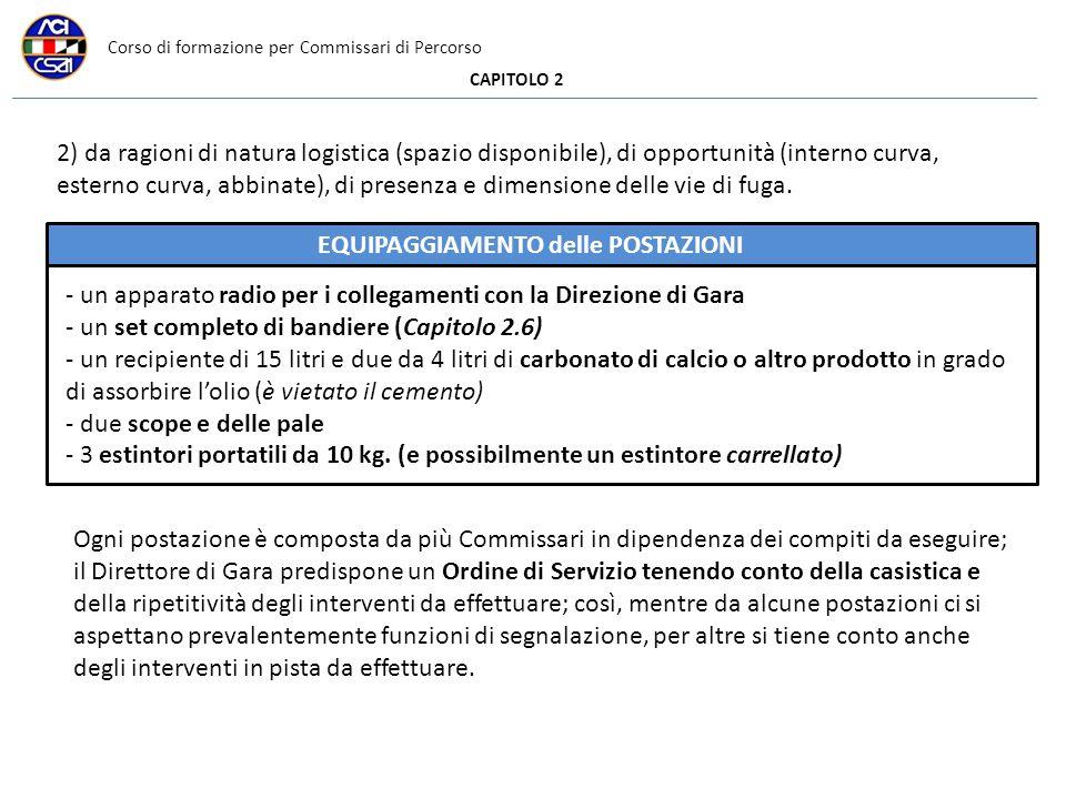 Corso di formazione per Commissari di Percorso CAPITOLO 2 2) da ragioni di natura logistica (spazio disponibile), di opportunità (interno curva, esterno curva, abbinate), di presenza e dimensione delle vie di fuga.