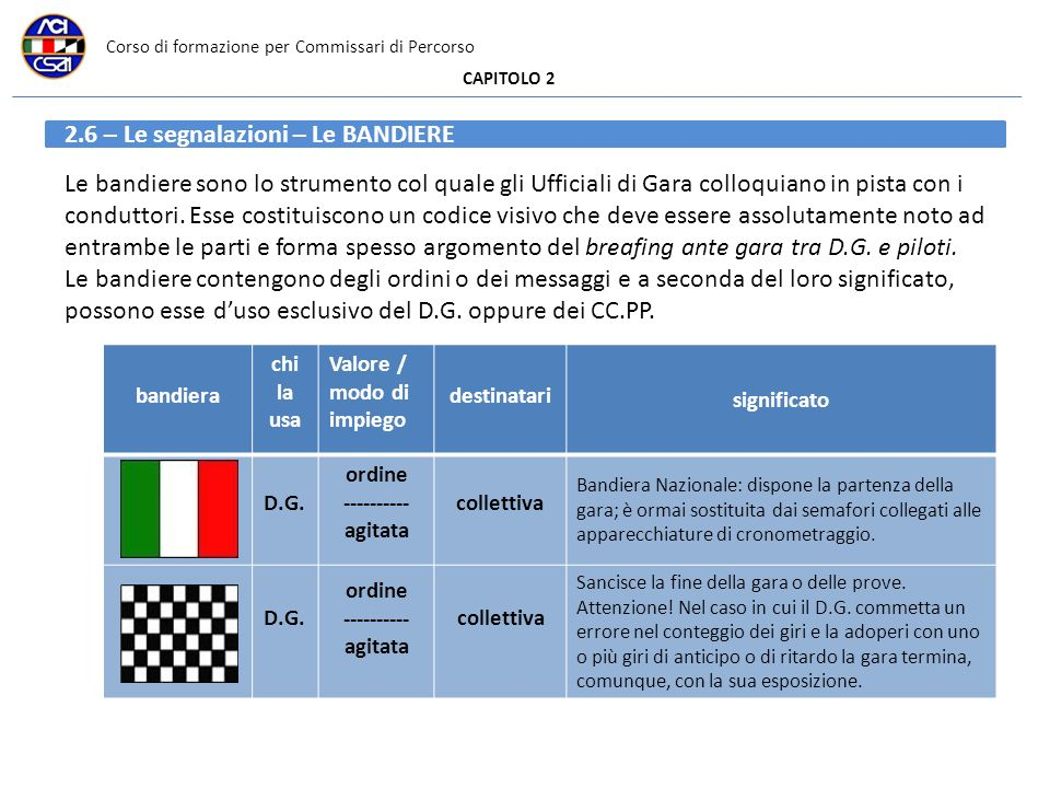 Corso di formazione per Commissari di Percorso CAPITOLO 2 2.6 – Le segnalazioni – Le BANDIERE Le bandiere sono lo strumento col quale gli Ufficiali di Gara colloquiano in pista con i conduttori.