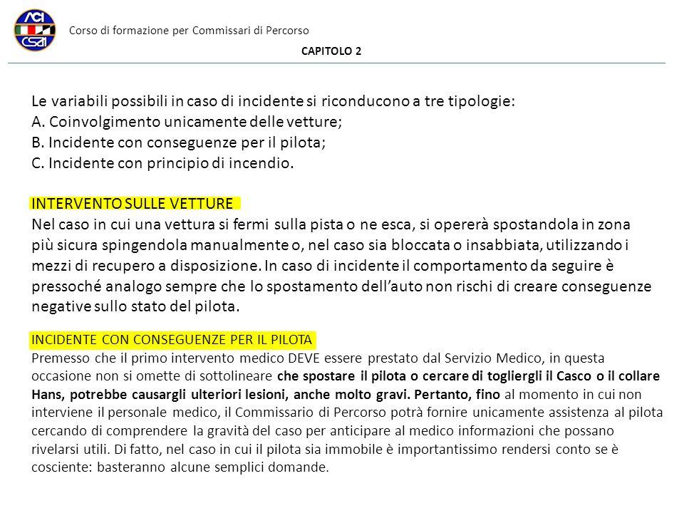 Corso di formazione per Commissari di Percorso CAPITOLO 2 Le variabili possibili in caso di incidente si riconducono a tre tipologie: A. Coinvolgiment