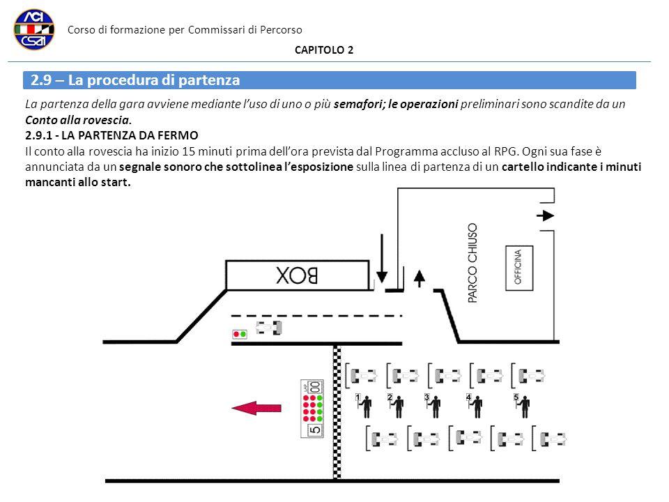 Corso di formazione per Commissari di Percorso CAPITOLO 2 La partenza della gara avviene mediante luso di uno o più semafori; le operazioni preliminari sono scandite da un Conto alla rovescia.
