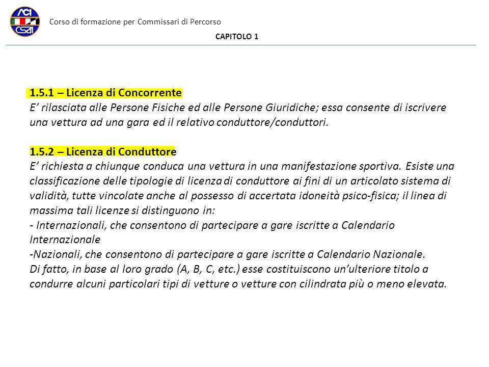 Corso di formazione per Commissari di Percorso CAPITOLO 1 1.5.1 – Licenza di Concorrente E rilasciata alle Persone Fisiche ed alle Persone Giuridiche;