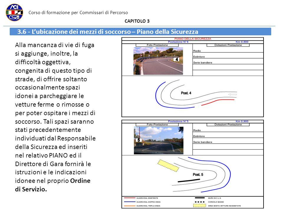 Corso di formazione per Commissari di Percorso CAPITOLO 3 3.6 - Lubicazione dei mezzi di soccorso – Piano della Sicurezza Alla mancanza di vie di fuga