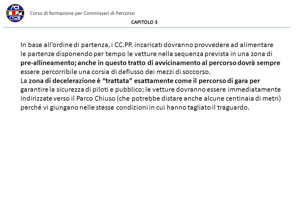 Corso di formazione per Commissari di Percorso CAPITOLO 3 In base allordine di partenza, i CC.PP.