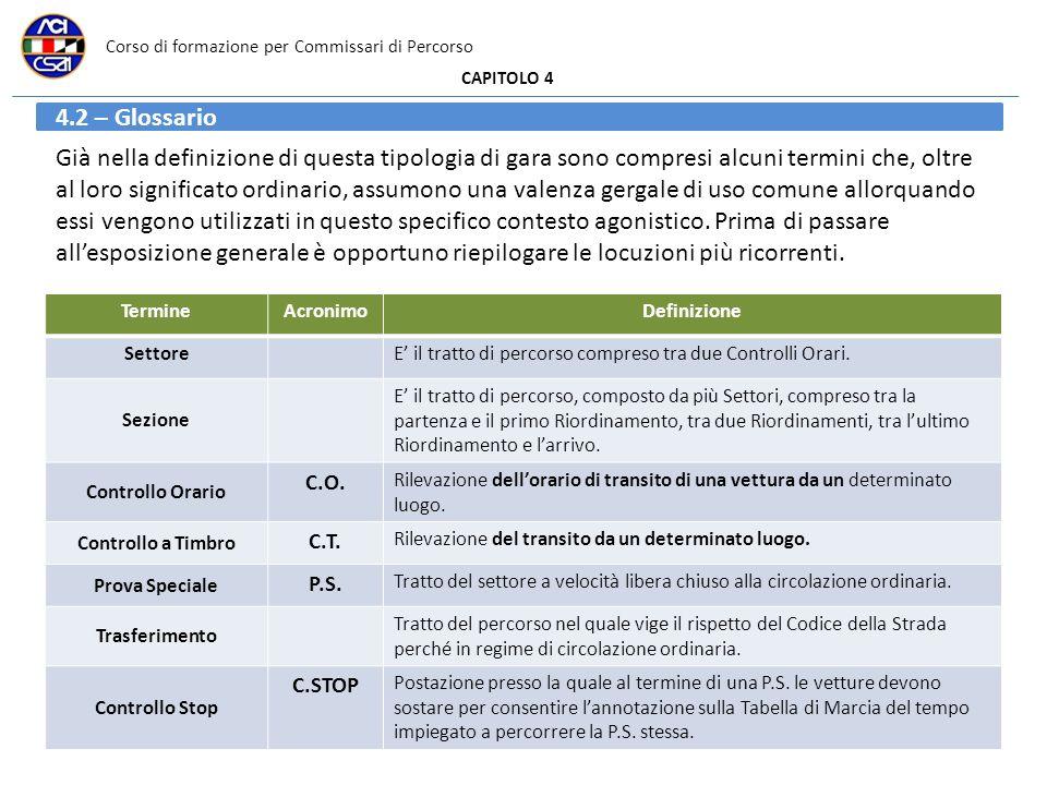 Corso di formazione per Commissari di Percorso CAPITOLO 4 4.2 – Glossario Già nella definizione di questa tipologia di gara sono compresi alcuni termi