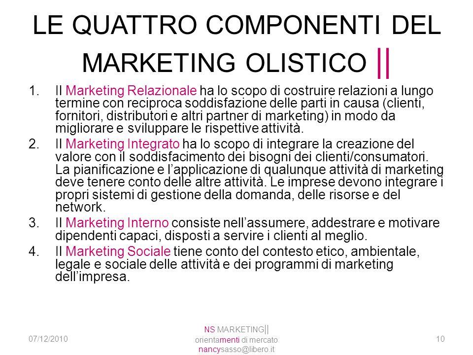 LE QUATTRO COMPONENTI DEL MARKETING OLISTICO    1.Il Marketing Relazionale ha lo scopo di costruire relazioni a lungo termine con reciproca soddisfazi
