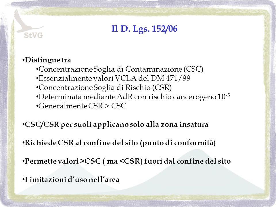 Il D. Lgs. 152/06 Distingue tra Concentrazione Soglia di Contaminazione (CSC) Essenzialmente valori VCLA del DM 471/99 Concentrazione Soglia di Rischi