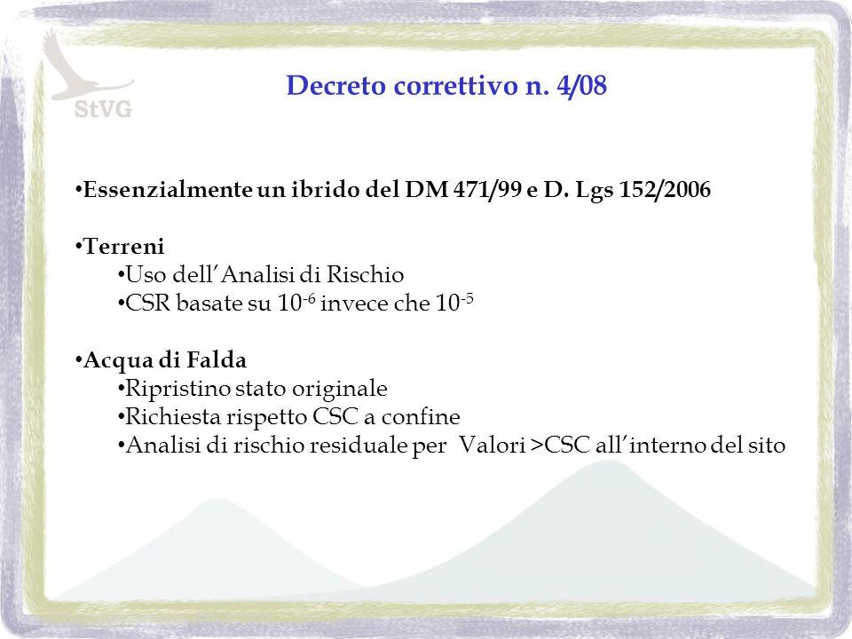 Decreto correttivo n. 4/08 Essenzialmente un ibrido del DM 471/99 e D.