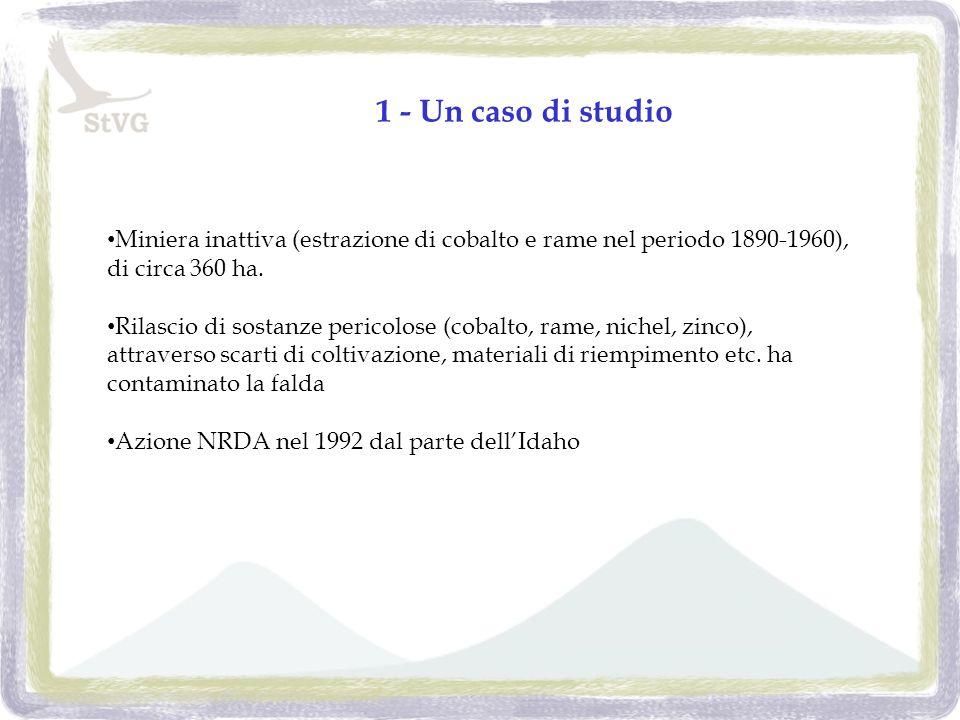 1 - Un caso di studio Miniera inattiva (estrazione di cobalto e rame nel periodo 1890-1960), di circa 360 ha.