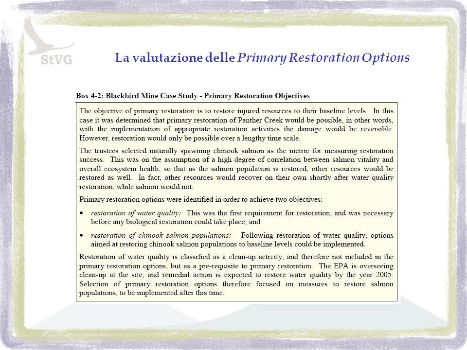 La valutazione delle Primary Restoration Options