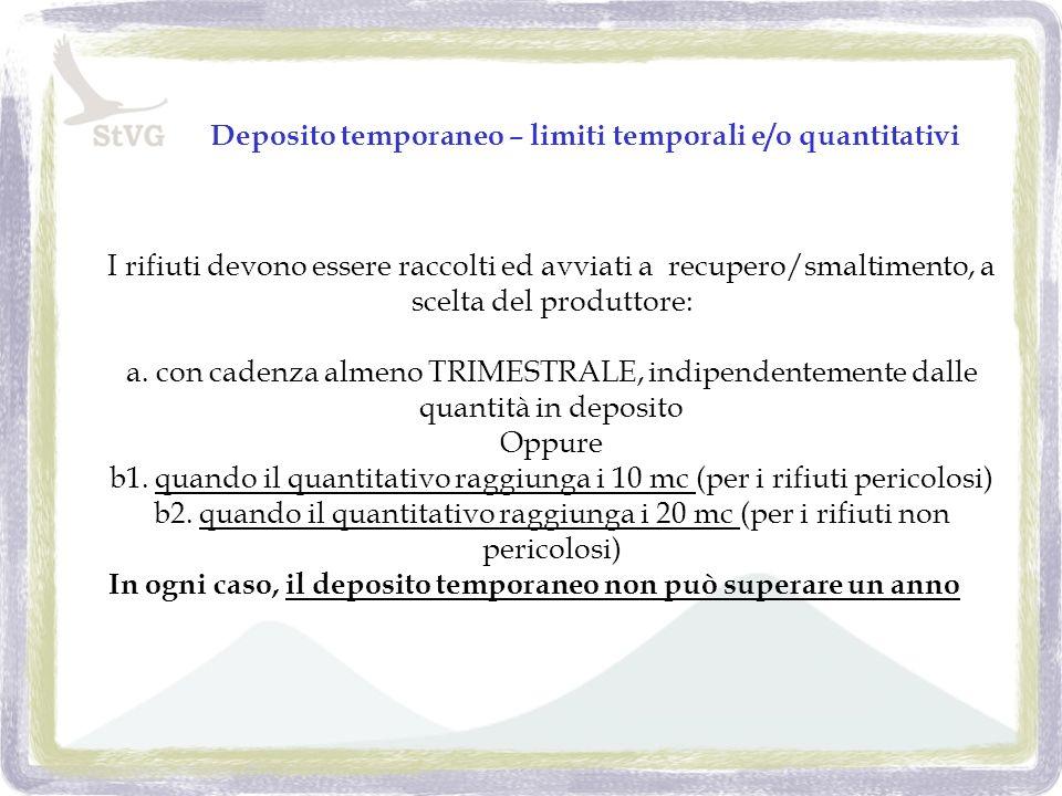 Deposito temporaneo – limiti temporali e/o quantitativi I rifiuti devono essere raccolti ed avviati a recupero/smaltimento, a scelta del produttore: a.