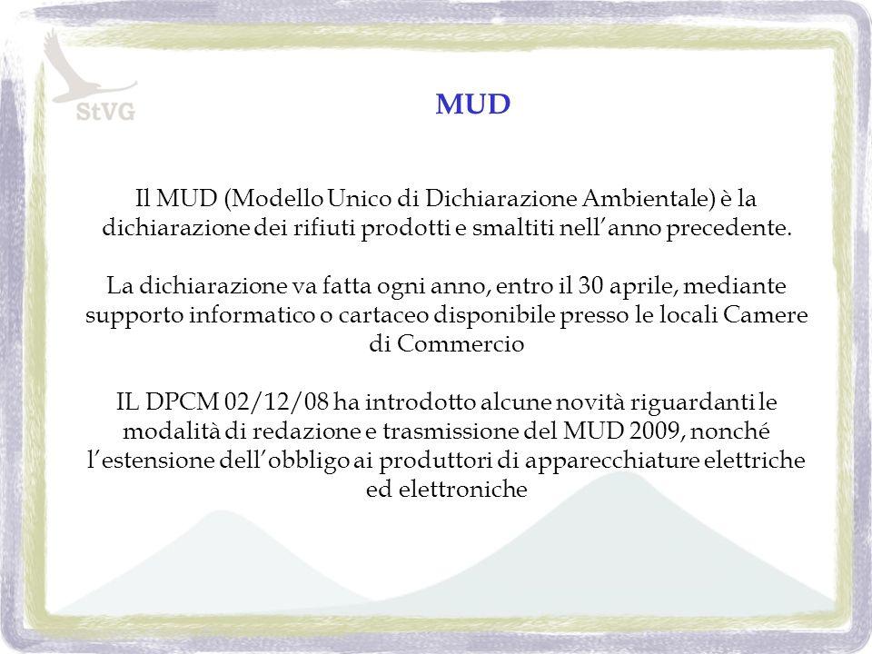 MUD Il MUD (Modello Unico di Dichiarazione Ambientale) è la dichiarazione dei rifiuti prodotti e smaltiti nellanno precedente.
