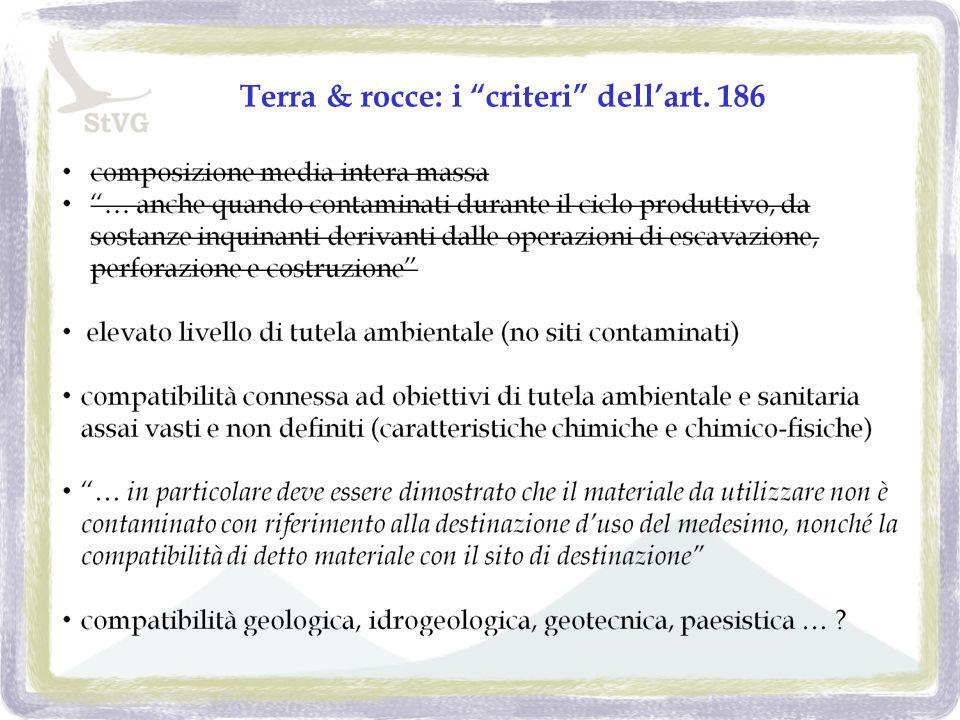 Terra & rocce: i criteri dellart. 186