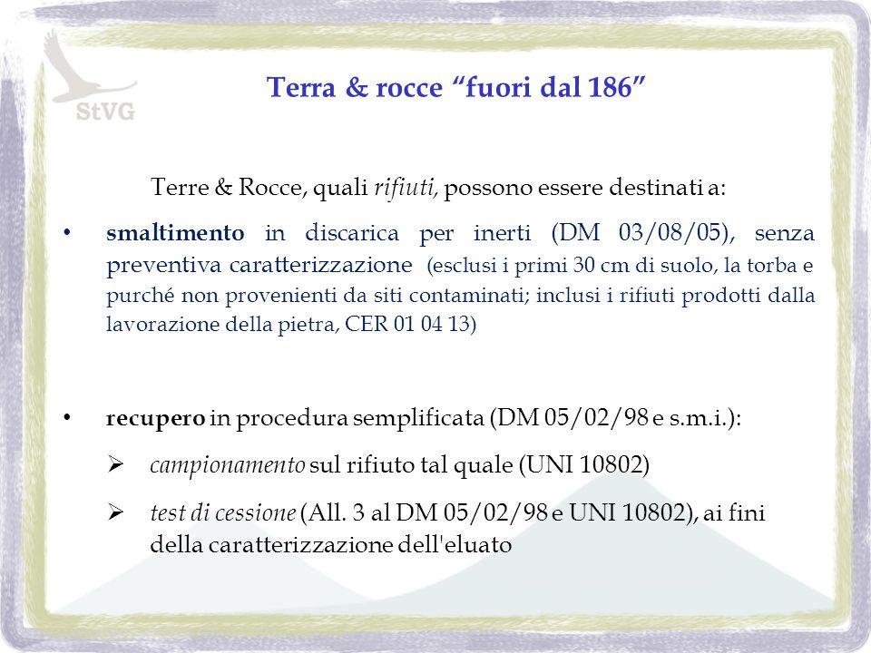 Terra & rocce fuori dal 186 Terre & Rocce, quali rifiuti, possono essere destinati a: smaltimento in discarica per inerti (DM 03/08/05), senza preventiva caratterizzazione (esclusi i primi 30 cm di suolo, la torba e purché non provenienti da siti contaminati; inclusi i rifiuti prodotti dalla lavorazione della pietra, CER 01 04 13) recupero in procedura semplificata (DM 05/02/98 e s.m.i.): campionamento sul rifiuto tal quale (UNI 10802) test di cessione (All.
