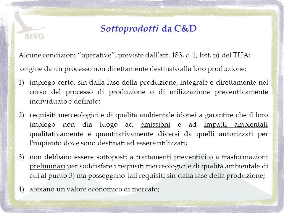 Sottoprodotti da C&D Alcune condizioni operative, previste dallart.