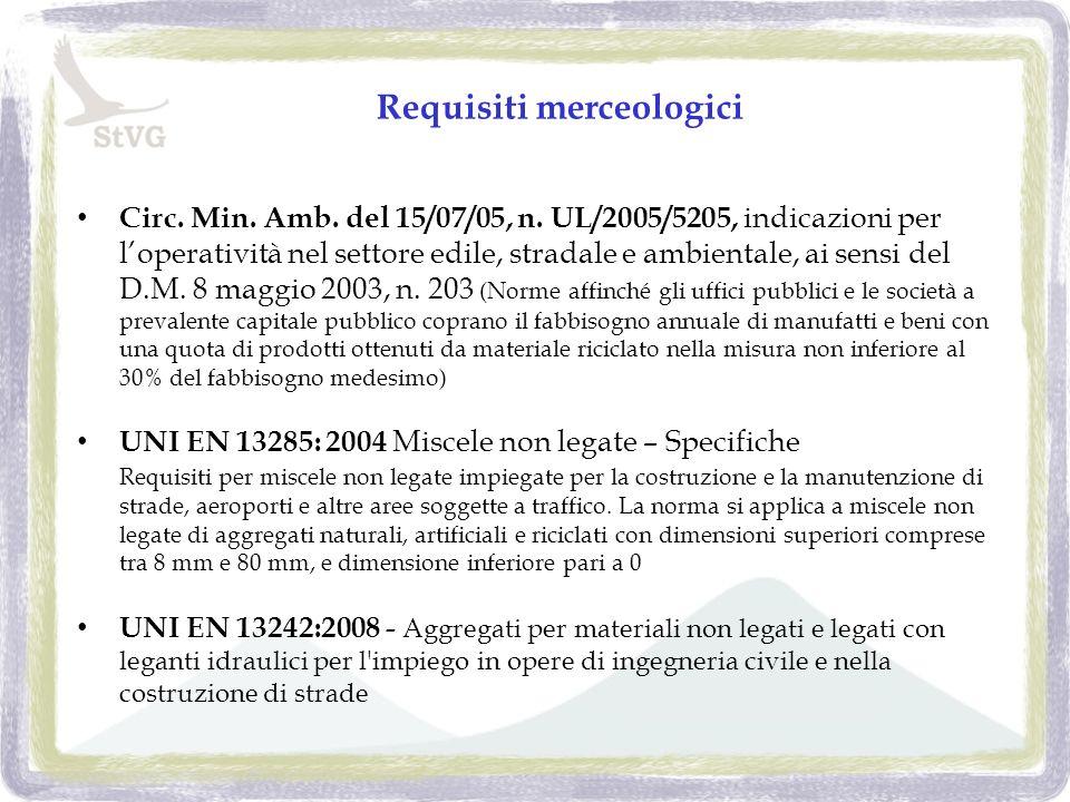 Requisiti merceologici Circ. Min. Amb. del 15/07/05, n.