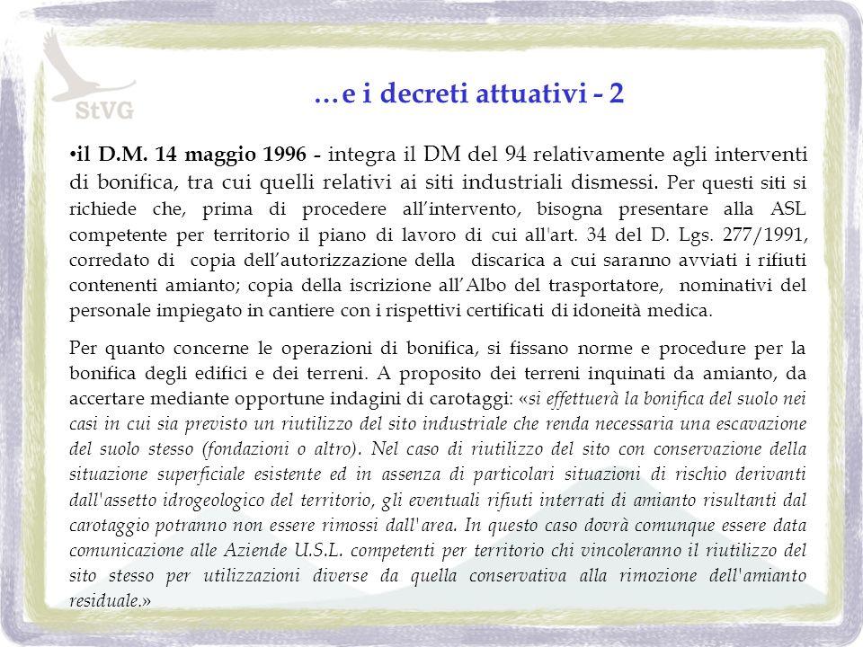 …e i decreti attuativi - 2 il D.M.