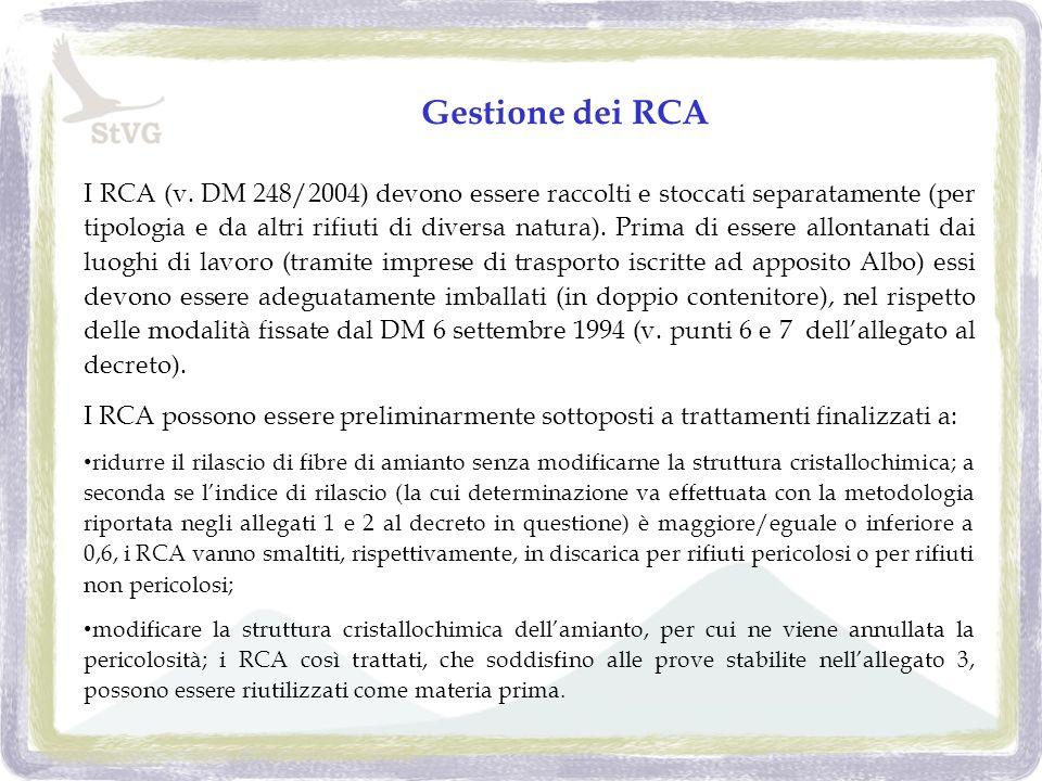 Gestione dei RCA I RCA (v.