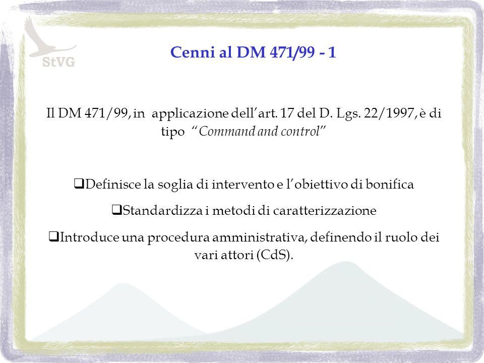 Cenni al DM 471/99 - 1 Il DM 471/99, in applicazione dellart.