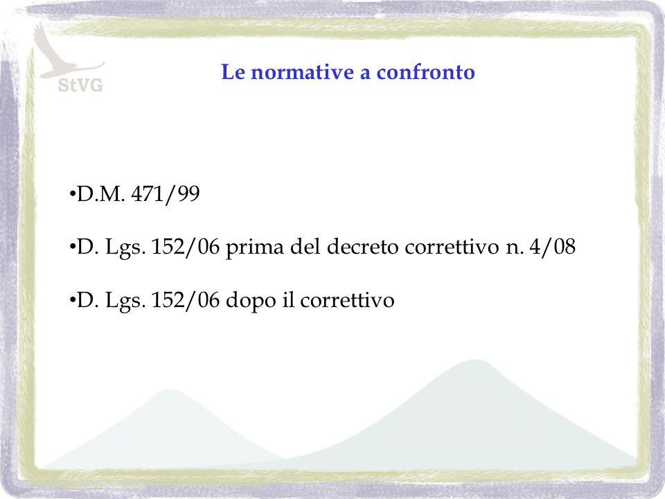 Le normative a confronto D.M. 471/99 D. Lgs. 152/06 prima del decreto correttivo n.